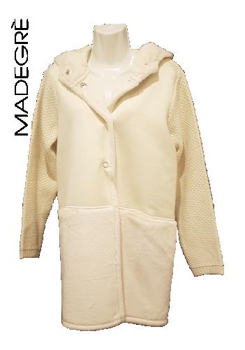 Madegrè abbigliamento donna giacca-bianca-cappuccio