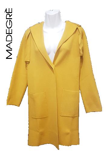 Madegrè abbigliamento donna giacca-gialla-cappuccio