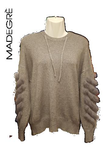 Madegrè abbigliamento donna maglia-inserti-pelliccia-grigia