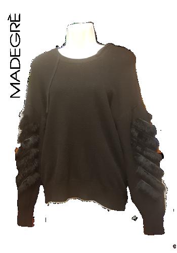 Madegrè abbigliamento donna maglia-inserti-pelliccia