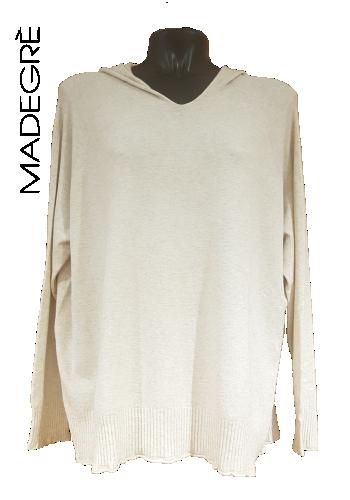 Madegrè abbigliamento donna maglioncino-bianco-cappuccio