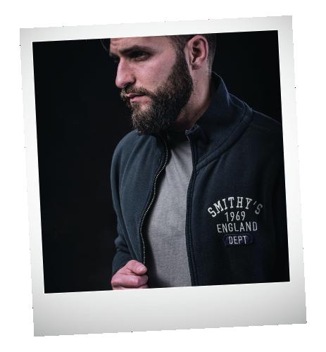 Smithy's England abbigliamento uomo dark-kgrey felpa-zip-blue
